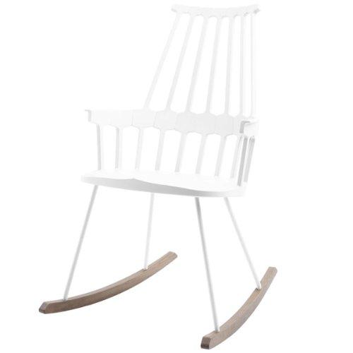 Kartell 595603 Comback Schaukelstuhl 58 x 100 x 58 cm Sitzhöhe 44 cm Sitzflächenfarbe Schaukelteil Eiche, weiß