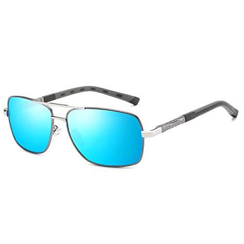 WHSS Gafas de Sol Marco Rojo Gafas Anti-UV Viaje Playa Espejo Montar Turismo Deportes Al Aire Libre Hombres Gafas De Sol De Conducción Marco Ultraligero (Color : Blue)