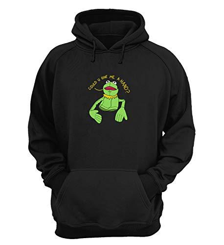 Kermit The Muppets Frog Give Me A Hand Character Quote_KK018684 Hoodie Felpe con Cappuccio Regalo di Natale Divertente Unisex for Men Women Cotton - Small - Black