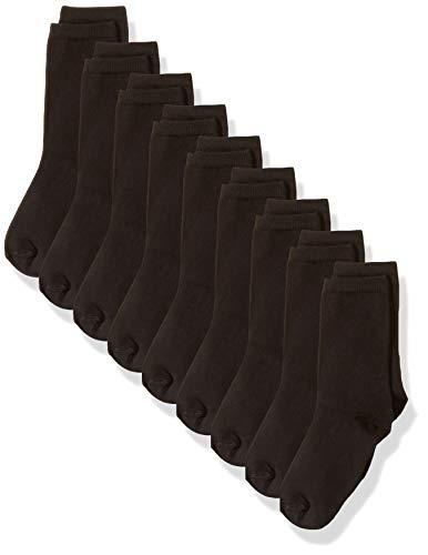 Amazon Essentials Kids Boys Uniform Light-Weight Cotton Crew Dress Socks, 9-Pack Black, Medium