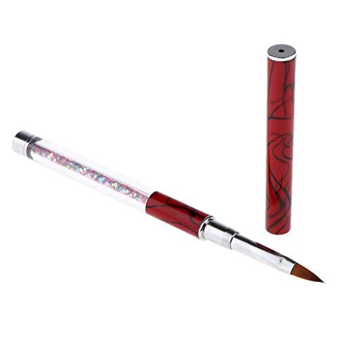 SDENSHI Pinceaux Ongles Nail Art Brosses, Pinceau Nail Art Ongles pour Artistes/Salons/Écoles d'Art d'Ongle Professionnels - Rouge