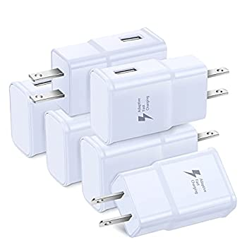 Adaptive Fast Charging Wall Charger Adapter Eversame 6-Pack Fast Charging Block Travel USB Charger Box Compatible Samsung Galaxy S10 S9 S8 S7 S6 Note 8 9 iPhone LG HTC and More  White