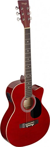 Stagg SA20ACE RED Auditorium Cutaway Acoustic-Electric Guitar - Red