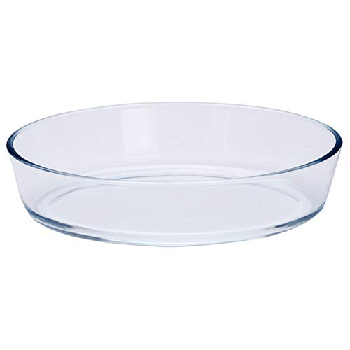 Hemoton Molde ovalado de vidrio para hornear de vidrio ovalado cazuela de horno de postre platos ovalados para ensalada para el hogar panadería de vidrio accesorios para hornear 1,6 l