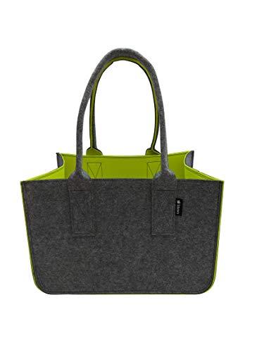 Tebewo Shopping Bag aus Filz, große Einkaufs-Tasche mit Henkel, Einkaufskorb, Faltbare Kaminholztasche zur Aufbewahrung von Holz, vielseitige Tragetasche auch für Spielzeug, dunkelgrau/gelb