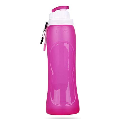 Botella deportiva de silicona de 500 ml, botella plegable portátil de verano al aire libre, botellas de agua duraderas para hombre mujer, viajes, senderismo, ciclismo, correr, deportes