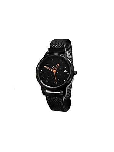 Reloj para Mujer de Cuarzo con Correa de Malla diseño Brillo | Idea de Regalo | Colección Bright Steel Negro