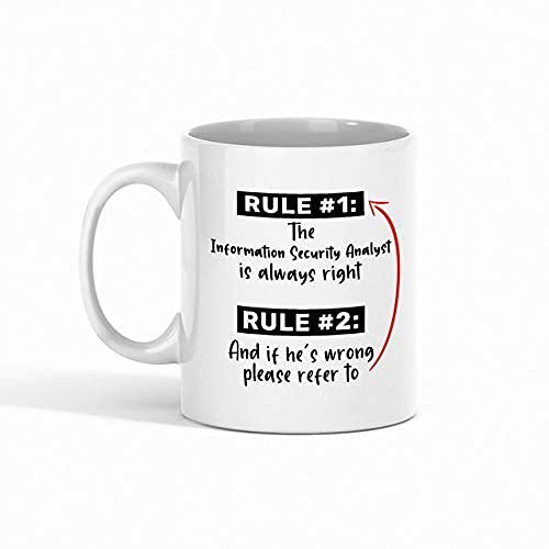 Information Security Analyst Coffee Mug - Rule 1 The Information Security Analyst is Always Right Rule 2 and If He's Wrong Please Refer to - Best Gift for Coworker - Funny Mugs Gifts from Friend