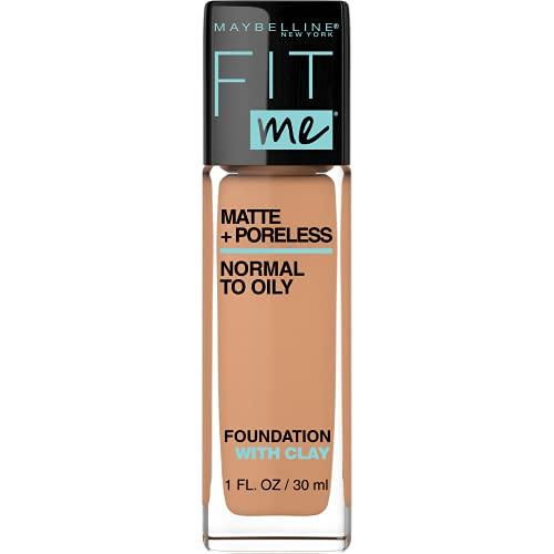 MAYBELLINE Fit Me Matte + Poreless Liquid Foundation Makeup, Warm Honey, 1 fl. oz. Oil-Free Foundation