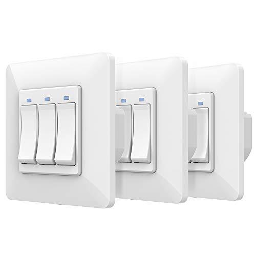 Interruttore da Muro Orbecco 3 Interruttori WiFi, 3 Pulsanti Compatibile con Amazon Alexa, Google Home, APP Smart Life, Spia Led, Controllo remoto, Smart Home, Interruttore per Parete - Bianco