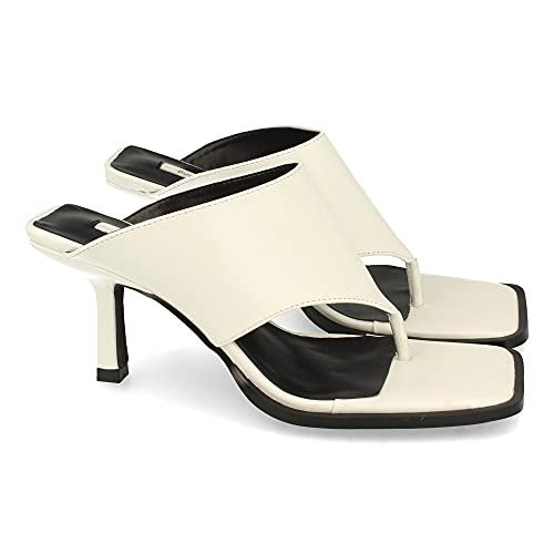 Sandalia de Esclava para Mujer, Comodas, con Tacon de Aguja, Talon Abierto, Primavera Verano 2021. Talla 36 Blanco