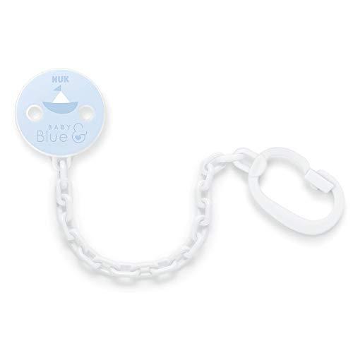NUK 10256457 Baby Blue Schnullerkette, mit Clip, zur Befestigung von Schnullern mit Ring, 1 Stück, hellblau
