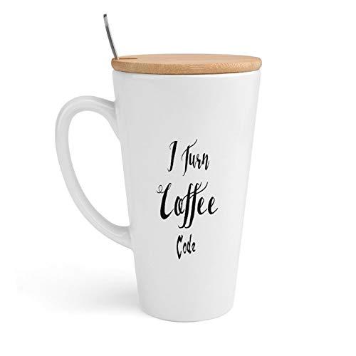Taza de cerámica para café, I Turn Coffee Into Code, taza de té con tapa y cuchara para oficina y hogar, 18 onzas