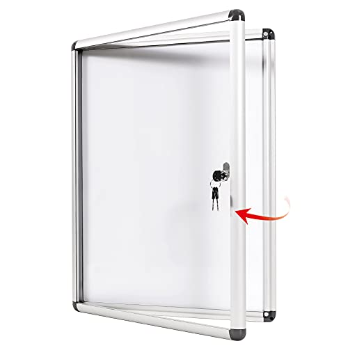 SwanSea Tableros de anuncios con bloqueo Tablero de anuncios cerrado Tableros de mensajes de vidrio blanco para interiores para oficina escolar 98x73 cm (9xA4)