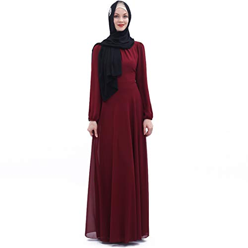 BooW Women's Chiffon Kaftan Abaya Dress Muslim Long Sleeve Self Tie Flowy Maxi Dress Islamic Evening Gown (20243-Wine Red, M)