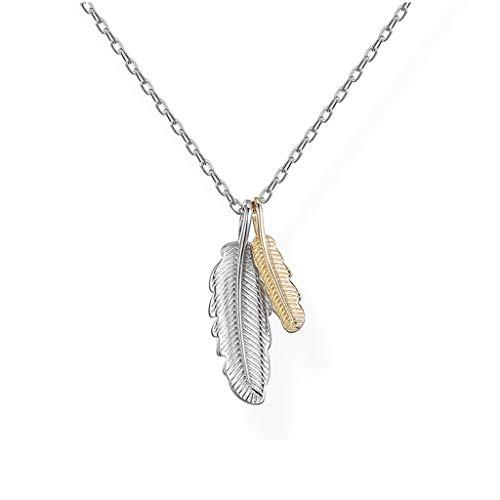 Joyas de Moda El temperamento collar de plumas de plata esterlina de señora pendiente Accesorios dulce romántico regalo de San Valentín (rosa caja de regalo) Collar para Mujer ( Color : A )