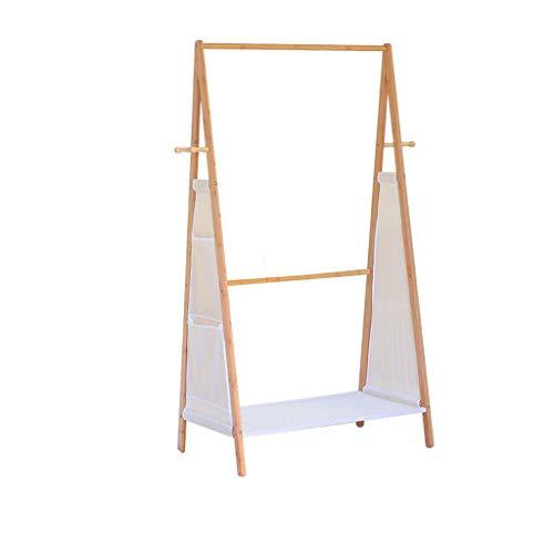 SDFGH Kapstok, bamboe-kledingrek, kledingrek, hangende rail, 4 haken voor hoedenwasgoedrekken in de hal, woonkamer