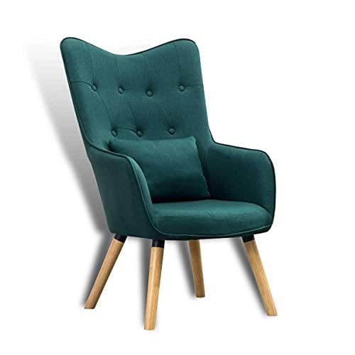 ESTEXO Fernsehsessel TV Sessel Lounge Relaxsessel Polstersessel Lesesessel Stoff Kissen Dunkelgrün