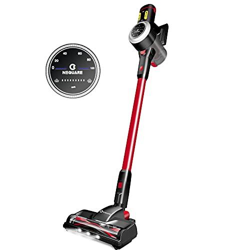NEQUARE 掃除機 コードレス 23kpa 残量表示 9段吸引力 自立タイプ LEDライト 5層濾過システム S23 (赤)