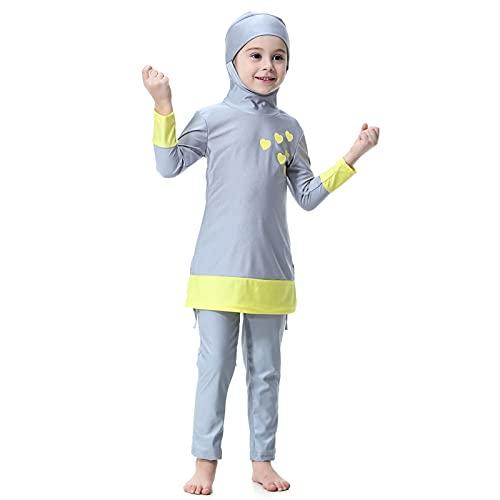 GuanXiao Color Match Glone Muslim Kid Swimsuit Burkini Islámica Chica Cubierta Completa Traje de baño Suave Long Abaya con Cap Ropa de Playa Traje de baño Turbante de Las Mujeres Tradicionales