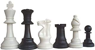 IDOPUZ - Clubs Chess Pieces King Size 95mm 2 Extra Queens 34 Chess Pieces Color Black and White Chess Player Tournament Sc...
