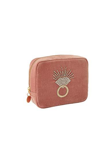 Accessorize Bolsa de terciopelo grande con anillo de cuentas, Pink, Talla única,