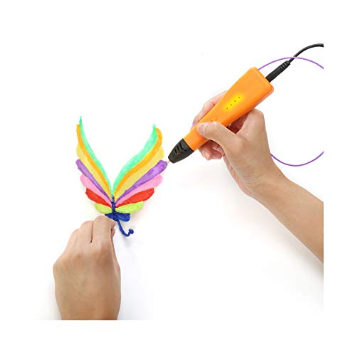 XIANBAO 3D Printing Pen - 3D Printing Printer Drawing Pen,3 Speed Levels,Educational STEM Toy for Boys & Girls Ages 6+,Free 5M Filament Set LCD Screen Gift,Suitable for Gifts and Crafts (Orange)
