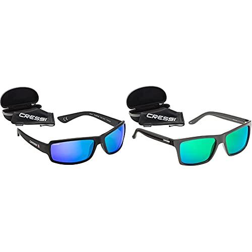Cressi Ninja Floating Gafas Flotantes Polarizadas Para Deportes Con Una Protección 100% Uv Adultos Unisex, Negro/Lentes Azul Espejadas + Rio Sunglasses Gafas De Sol Deportivo Polarizados