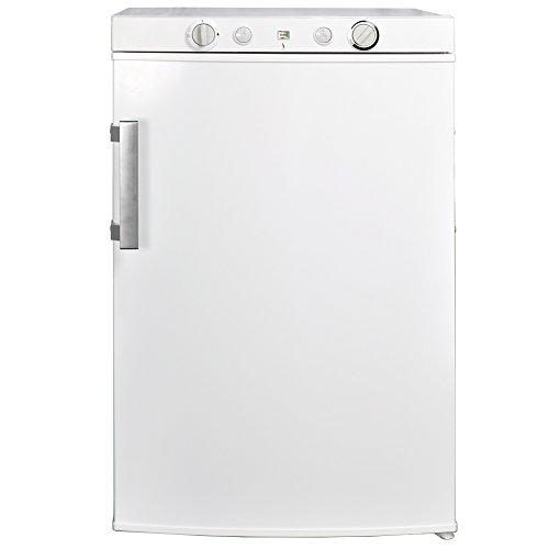 SMETA Propane Refrigerator with Freezer 12V/110V/Gas LPG, No Noise, Fridge for Dorm Office Garage, Single Door, 3.5 Cu.Ft, White