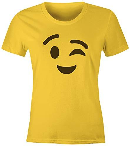 MoonWorks® Damen T-Shirt Emoticon Gruppenkostüm Fasching Karneval Junggesellenabschied JGA lustig Fun-Shirt Zwinkern gelb M