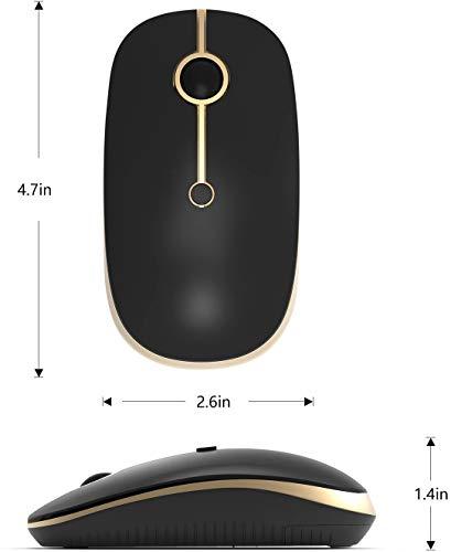 Kabellose Bluetooth Maus, Jelly Comb 2.4G+Bluetooth Maus Schnurlos Wireless Optische Bluetooth Maus für PC/Tablet/Laptop und Windows/Mac/Linux (Bluetooth+2.4G-Schwarz und Gold)