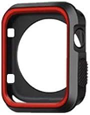 Apple Watch Seri 1 2 3 İçin 42 MM İki Renkli Silikon Tpu Kılıf (Siyah Kırmızı)