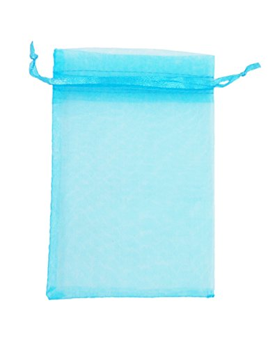 ATCG 100pcs 3x4 Inches Drawstring Organza Pouches Wedding Party Favor Gift Candy Bags (AQUA BLUE)