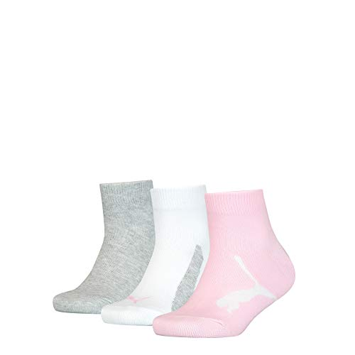 PUMA Unisex-Child Kids' BWT Quarter (3 Pack) Socks, pink/grey, 31-34
