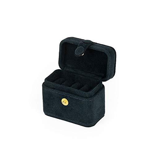 DAXINYANG Colorful Linght Exquisito Mini Anillo de Anillo Pendiente Adorno Caja de Almacenamiento Travel Portable Jewlery Box (Color : Navy Velvet)