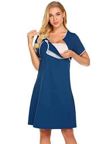 Ekouaer Nursing Nightgown Nightdress Hospital Gown Delivery/Labor/Maternity/Pregnancy Soft Breastfeeding Dress,B navy Blue,Large