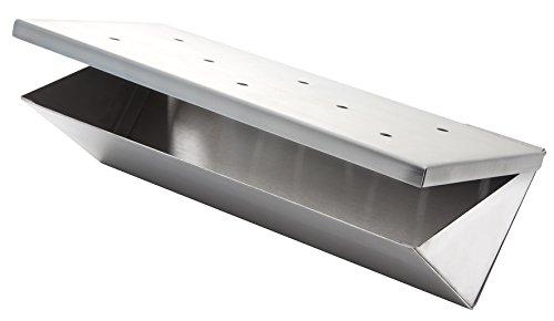 Wood Chip Räucher Box V-FORM aus Edelstahl mit Klappdeckel von Allgrill ®