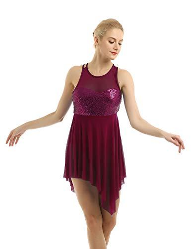 iiniim Damen Ballettkleid Ballettanzug Gymnastik Turnanzug mit Asymmetrisch Rock Pailletten Ballett Trikot Latein Tanzkleid XS-XL Weinrot S