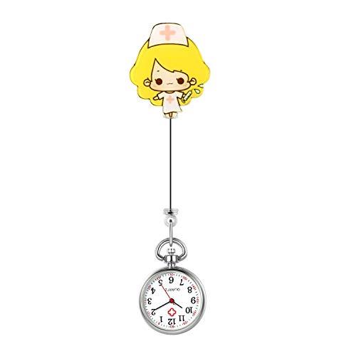 Lancardo Reloj Médico de Bolsillo con Decorción Acrílico Reloj Enfermera Elegante Paramédico con Chica Rubia Reloj de Doctor Cuarzo Prendedor de Broche Clip Longitud Estirable