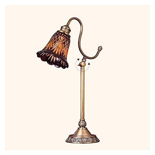Lámparas de mesa Lámpara de mesa de arco con acabado de latón ajustable y lámpara de vidrio tallada para la lectura de la granja de la lectura de la luz de la oficina para la oficina Lámpara de mesa d