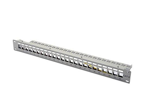 DIGITUS Patch-Panel Modular - 24 Ports - 1HE - Geschirmt - Für Keystone-Module - 19 Zoll Rack - Grau