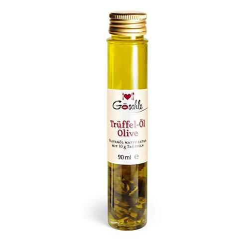 Die Trüffelmanufaktur - Feinkost Trüffelöl (Olive) mit 10 g echtem frischen schwarzem Trüffel, Olivenöl nativ extra kaltgepresst, die Delikatesse für Feinschmecker, Schwarztrüffel-Öl á 90 ml