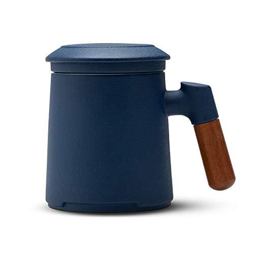 ZENS Teebecher mit Deckel und Porzellan Sieb, 400ml Steinzeug Glasierte Keramik Teetasse aus mit Palisandergriff zum Einweichen von Losen Tee, Marineblau