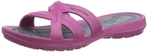 Aqua Speed Damen Panama Pool Hausschuhe,pink / grau,37 EU