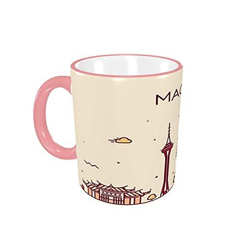Taza de café Horizonte de Macao, República Popular de China Tazas de café Tazas de cerámica con Asas para Bebidas Calientes - Latte, té, café, Regalos, 12 oz Pink