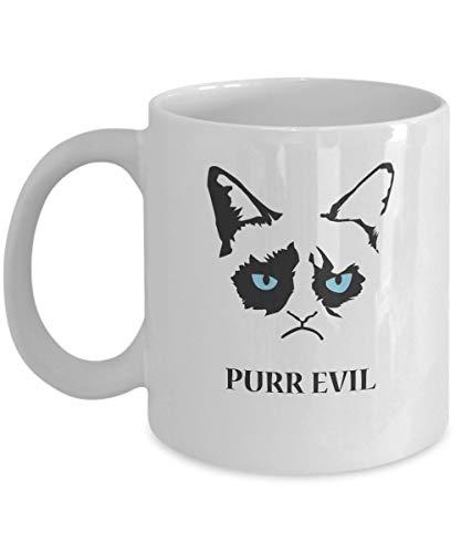 jingqi Purr Evil-Grumpy Cat Mug-Grumpy Cat Coffee Mug-Grumpy Cat Merchandise-Ceramic Coffee White Mug -Personalized Gift for Birthday,Christmas and New Year-Grumpy Cat Art-Grumpy Cat No Mug