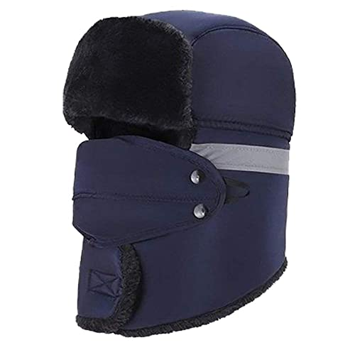 Sombrero de invierno a prueba de viento, pasamontañas cálido de felpa rusa con orejeras, protector de cuello y máscara bucal, protección facial para esquí al aire libre, unisex (versión mejorada) (E)
