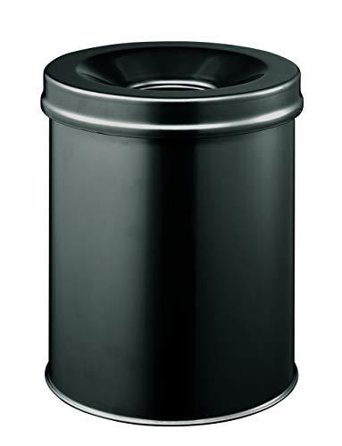 Durable 330501 Papierkorb Safe rund, selbstlöschender Deckel, 15 Liter, schwarz
