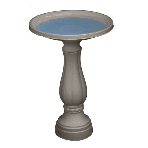 "Bloem Promo Bird Bath with Pedestal, 25"" x 17"", Peppercorn (270-60)"