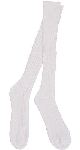 Women's Orlon Cable Knee Sock - 3 Pair (White)